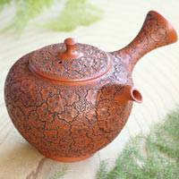 Entire Teapot Carved Sakura Pattern, Pure-hand-Made by Shun-en 220cc, Premium Green Tea Teapot