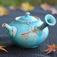 Blue Wood-fired Pottery Side-handle Kyusu 220ml, Hand-made by So Yamada, Japanese Tokonameyaki