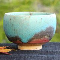 Blue Pottery Tea Cup Large Size 250cc, Green Tea Cup, Chinese Tea Cup, Hand-Made by So Yamada