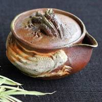 Japanese Bizenyaki Wood-fired Pottery Teaware, Double Dragon Houhin 150ml, Made by Teruhiko Omori