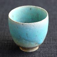 Blue Pottery Tea Cup Small Size 90cc, Green Tea Cup, Chinese Tea Cup, Hand-Made by So Yamada