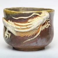 Wood-fired White Dragon Small Pottery Cup 110ml, Hand-made by Teruhiko Omori, Japanese Bizenyaki