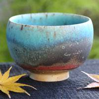 "So Yamada ""Blue"" Pottery Tea Cup Large Size 250cc, Japanese Yunomi"