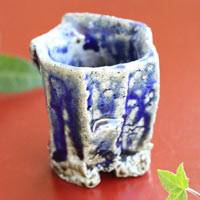 Salt Glazing Cup 40ml, Wood-fired Pottery,Pure Hand-made by Takeshi Shimizu, Sake Cup, Small Teacup