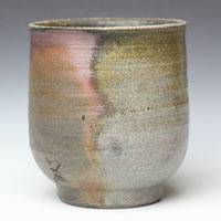 Japanese Bizenyaki Wood-fired Pottery Tea Cup 200ml, Made by Fumiharu Kino, Sencha Yunomi