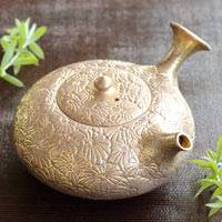 Pure Gold-glazed Flower Carved Kyusu, Premium Green Tea Teapot 170ml, Hand-made by Yohei Konishi