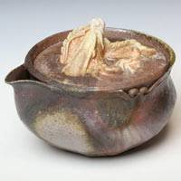 Wood-fired White Dragon Houhin150ml, Pure Hand-made by Teruhiko Omori, Bizenyaki Youhen Pottery