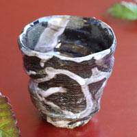 Black Cup with White Line 100ml, Pottery Cup Made by Atsushi Kobayashi, Small Tea Cup, Sake Cup