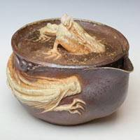 Japanese Bizenyaki, Double White Dragon Houhin, Made by Teruhiko Omori, Wood-fired Pottery Teaware