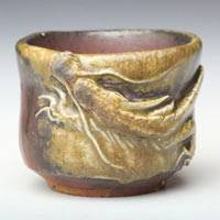 Bizenyaki Wood-fired Youhen Dragon Pottery Cup 70ml, Pure Hand-made by Teruhiko Omori