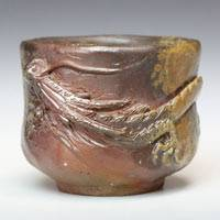 Japanese Bizenyaki Wood-fired Youhen Dragon Cup 100ml, Pure Hand-made by Teruhiko Omori