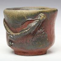 Wood-fired Dragon Cup 70ml, Pure Hand-made by Teruhiko Omori,Japanese Bizenyaki, Guinomi