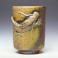Bizenyaki Wood-fired Dragon Tea Cup 420ml, Pure Hand-made by Teruhiko Omori, Beer Cup