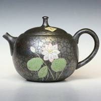 Lotus Patten Back Handle Type Teapot 240ml, Greentea Sencha Kyusu, Made by Shoryu