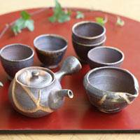 Wood-fired Igayaki Small Teaware Set,  Kyusu 110ml ,Water Cooler, Tea Cup Set,  Made by Minamide