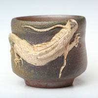 Bizenyaki Wood-fired White Dragon Small Pottery Cup 110ml, Pure Hand-made by Teruhiko Omori