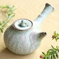 Light Green Pottery Teapot 150ml, Japanese Gyokurocha Kyusu, Green Tea Teaware, Made by Koichi Ohara
