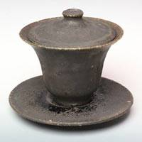Kokuuyu Black Glazed Gaiwan, Ceramic Teacup 140cc Pure Hand-Made by Koichi Ohara, Chinese Tea Ware