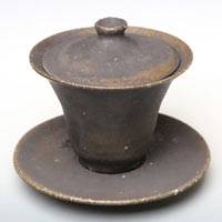 Ceramic Gaiwan, Oriental Tea Server, Kokuyu Black Glazed 150cc, Pure Hand-Made by Koichi Ohara