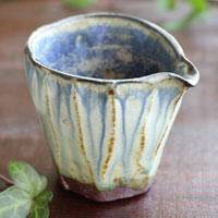 Tanbayaki Pottery Blue Water Cooler, Yuzamashi 180ml, Hand-made by Nobuhito Nakaoka