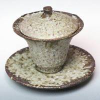 Haiishiyu Pottery Gaiwan, Tea Server, Ceramic Cup with Lid 120cc, Pure Hand-Made by Koichi Ohara