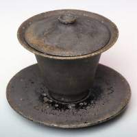 Kokuyu Black Glazed Gaiwan 140cc, Pure Hand-Made by Koichi Ohara, Shipping from Japan