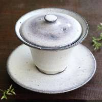 Light Purple Gaiwan, Chinese Tea Server, Ceramic Cup 120cc, Pure Hand-Made by Koichi Ohara