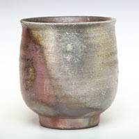 Japanese Bizenyaki Non-glazed Wood-fired Pottery Green Tea Cup 170ml, Made by Fumiharu Kino