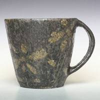Ceramic Flower-pattern Black Coffee Cup, Teacup, Pure Hand-made by Emi Masuda