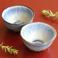 Blue Pottery Teacup Set 50ml, Hand-Made by Nobuhito Nakaoka, Gyokuro Tea Cup, Chinese Tea Cup