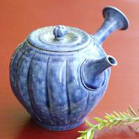 Wood-fired Blue Teapot, Premium Sencha Kyusu 190ml, Hand-made by Master Yohei Konishi
