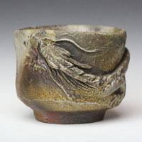 Wood-fired Dragon Cup 80ml, Pure Hand-made by Teruhiko Omori,Japanese Bizenyaki Small Cup
