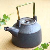 Can Directly Boil Water Pottery Kettle 700ml, Hand-made by Shinobu Hashimoto, Japanese Dobin