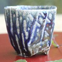 Wood-fired Salt Glazing Cup  Tanbayaki Wood-fired Pottery 70ml, Pure Hand-made by Takeshi Shimizu