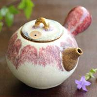 Gold-tsumami Red Teapot 210ml, Pure Hand-made by Nobuhito Nakaoka, Sencha Kyusu