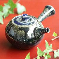 Salt-glazing Wood-fired Teapot 220ml, Tanbayaki Sencha Kyusu,  Pure Hand-made by Takeshi Shimizu
