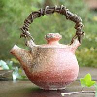 Japanese Shigarakiyaki Dobin 440ml, Non-glazed Wood-fired Pottery Teapot, Hand-made by Kengo Saeki