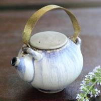 Tanbayaki Partially Silver Glazed Teapot 180cc, Pure Hand-made by Nobuhito Nakaoka, Gyokurocha Kyusu
