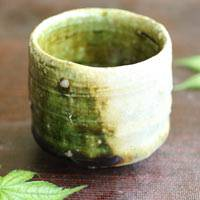 Japanese Oribe Green Cup 80ml, Pottery Cup, Pure Hand-made by Kengo Saeki, Guinomi, Sake Cup