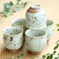 Crack Glaze Teacup, Yunomi 100cc, Set of Five Cups, Pure Hand-made by Shin Setoguchi