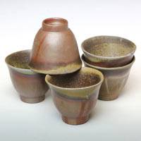 Bizenyaki Youhen Wood-fired Sencha Cup Set 50ml (5 cups), Teruhiko Omori, Pottery Teacup