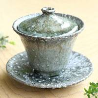Black-stone Glaze Gaiwan 150ml, Chinese Style Pottery Teacup with Lid, Hand-Made by Koichi Ohara