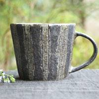 Emi Masuda, Black stripe mug cup s-size, coffee cup, pottery teacup