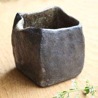 Black Water Cooler, Pottery Square Yuzamashi 210ml, Pure Hand-Made by Emi Masuda, Tea Server