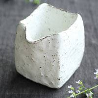 White Water Cooler, Pottery Square Yuzamashi 210ml, Pure Hand-Made by Emi Masuda, Tea Server