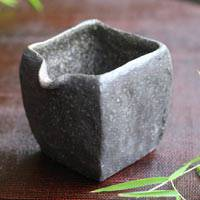 Square Black Water Cooler, Pottery Yuzamashi 140ml, Pure Hand-Made by Emi Masuda