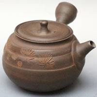 Japanese Tokonameyaki green tea teapot, made by Toju, pottery kyusu 230ml