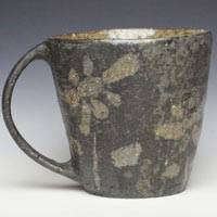 Flower Pattern Black Mug Cup, Emi Masuda, Coffee Cup, Pottery Tea Cup