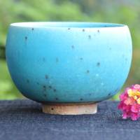 So Yamada, blue yunomi cup, Japanese pottery cup for green tea