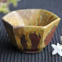 Yoshinobu Morimoto, Inbe Rokkaku(hexagon) cup, Japanese Bizenyaki pottery 70ml, anagama wood-fired